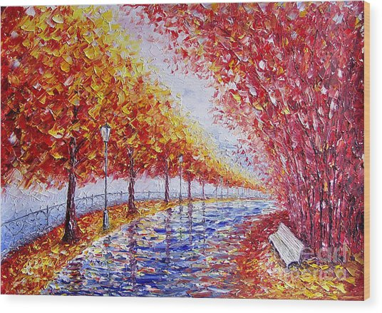 Landscape Painting Gold Alley Wood Print by Valery Rybakow