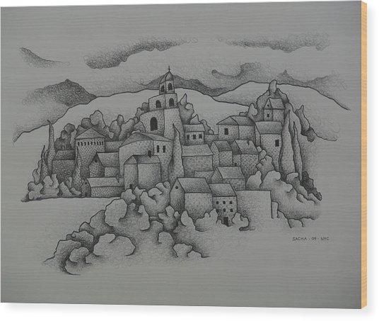 Landscape The Town  2009 Wood Print by S A C H A -  Circulism Technique