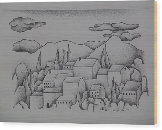 Landscape The Town II  2009 Wood Print by S A C H A -  Circulism Technique
