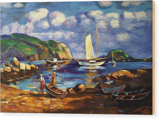 Landscape With Boats Wood Print