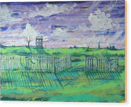 Landscape With Fence Wood Print by Rollin Kocsis