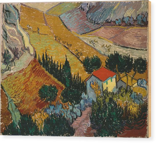 Wood Print featuring the painting Landscape With House And Ploughman by Van Gogh