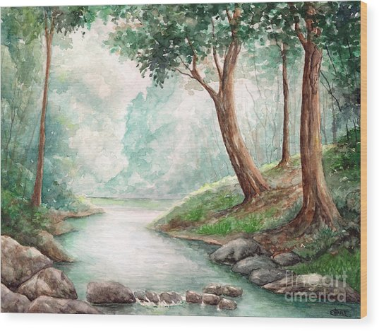 Landscape With River Wood Print by Enaile D Siffert