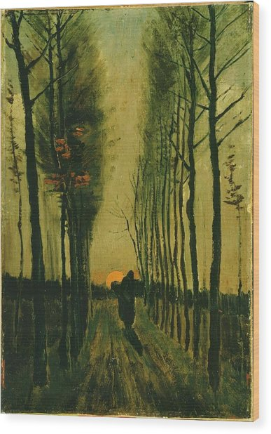 Wood Print featuring the painting Lane Of Poplars At Sunset by Van Gogh