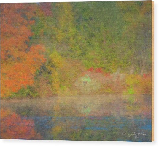 Langwater Pond Boathouse October 2015 Wood Print