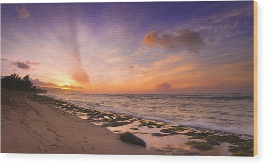 Laniakea Sunset Wood Print