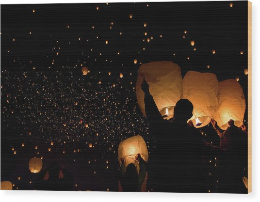 Lantern Fest Group Wood Print