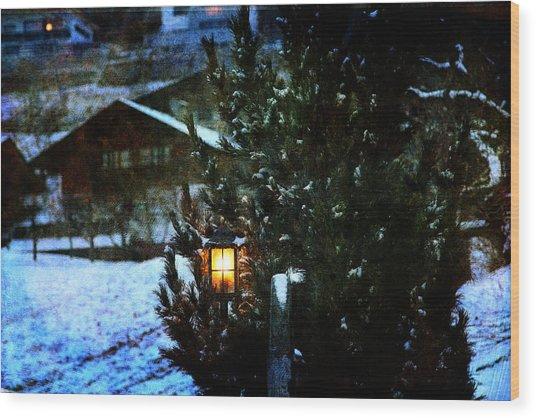 Lantern In The Woods Wood Print
