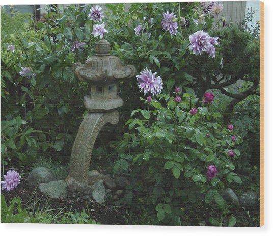 Lantern With Dahlia Wood Print
