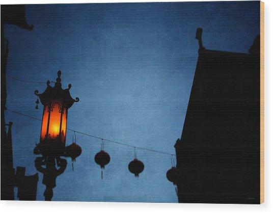 Lanterns- Art By Linda Woods Wood Print