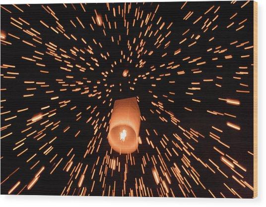 Lanterns In The Sky Wood Print