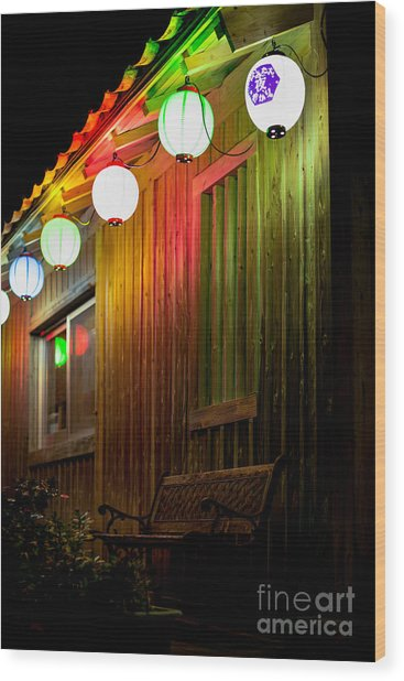 Lanterns Light The Bench Wood Print
