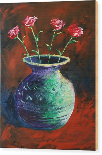 Large Abstract Roses In Vase Painting Wood Print by Mark Webster