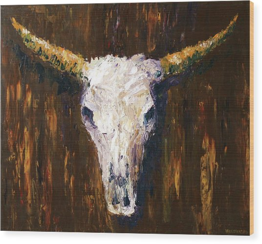 Large Cow Skull Acrylic Palette Knife Painting Wood Print by Mark Webster
