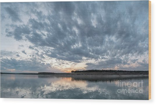 Large Panorama Of Storm Clouds Reflecting On Large Lake At Sunse Wood Print