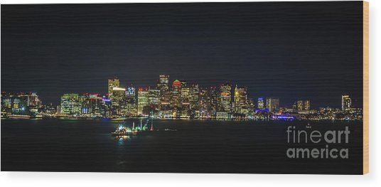 Large Panoramic Of Downtown Boston At Night Wood Print
