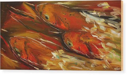 Large Trout Stream Fly Fish Wood Print