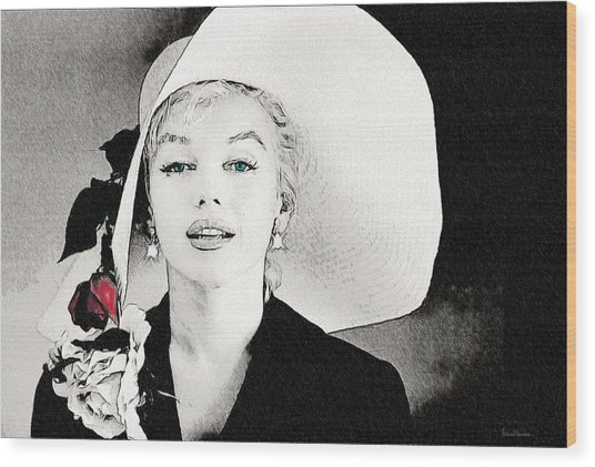 Large White Hat -marilyn Monroe  - Sketch Wood Print