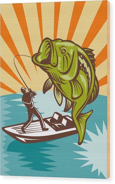Largemouth Bass Fish And Fly Fisherman Wood Print