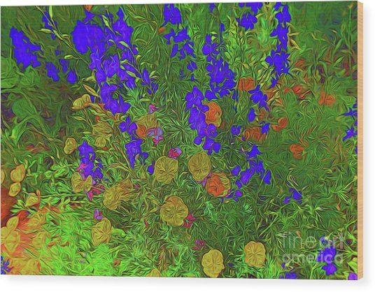 Larkspur And Primrose Garden 12018-3 Wood Print