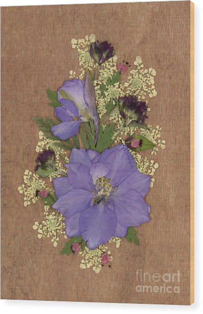 Larkspur And Queen-ann's-lace Pressed Flower Arrangement Wood Print