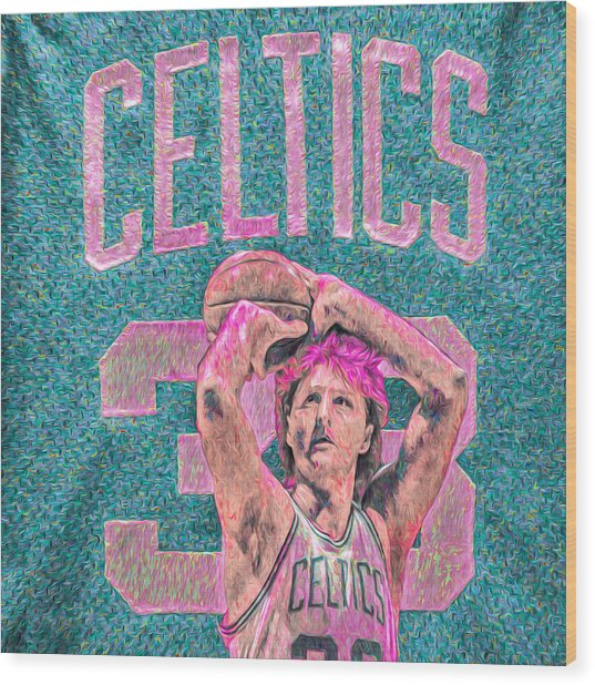 Larry Bird Boston Celtics Digital Painting Pink Wood Print