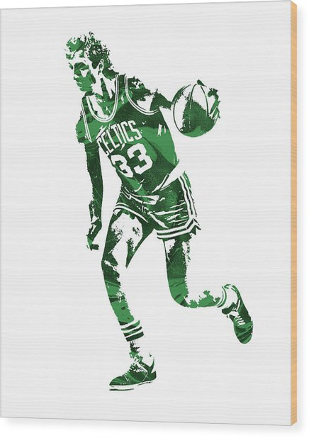 Larry Bird Boston Celtics Pixel Art 10 Wood Print
