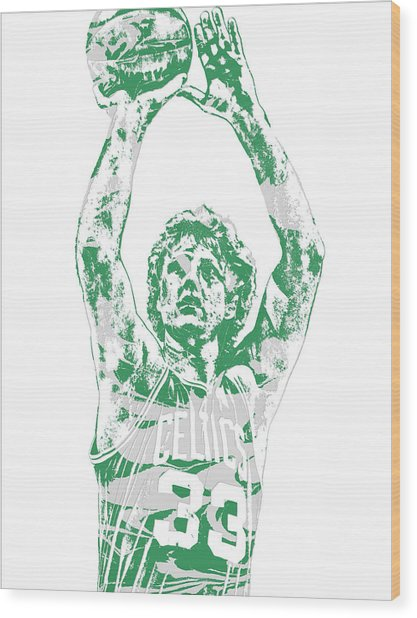 Larry Bird Boston Celtics Pixel Art 5 Wood Print