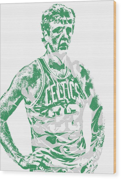 Larry Bird Boston Celtics Pixel Art 6 Wood Print