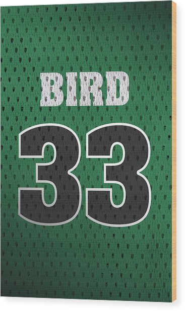 Larry Bird Boston Celtics Retro Vintage Jersey Closeup Graphic Design Wood Print