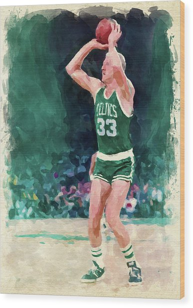Larry Bird Paint Wood Print