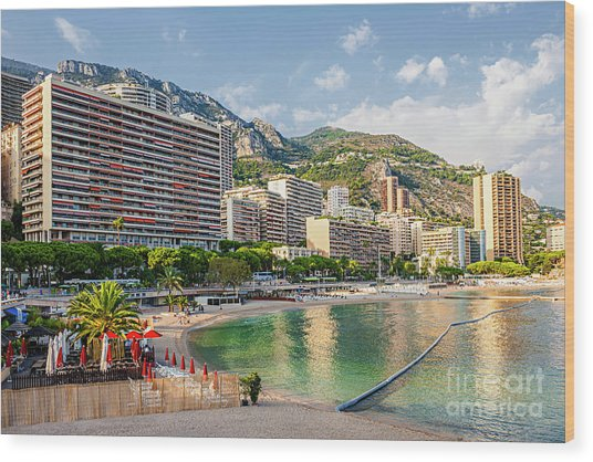 Larvotto Beach In Monaco Wood Print