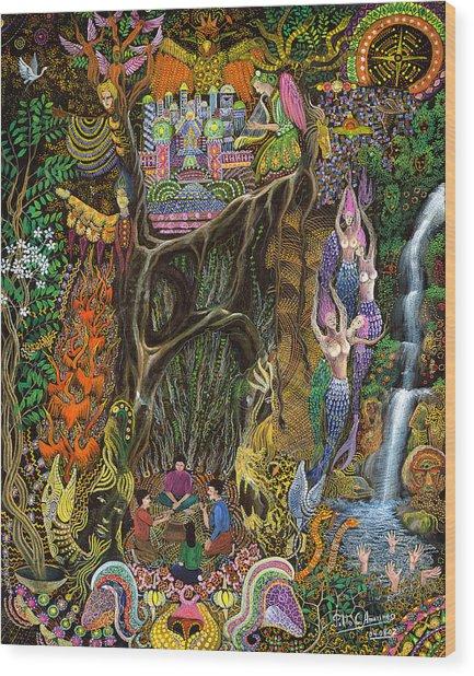 Wood Print featuring the painting Las Nalpeas Del Renaco  by Pablo Amaringo