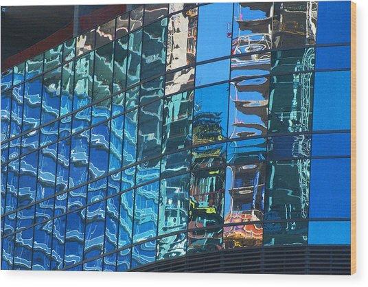 Las Vegas City Center Reflection Wood Print by Richard Henne