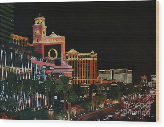 Las Vegas Strip Oil On Canvas Painting Wood Print