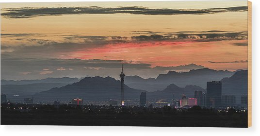 Wood Print featuring the photograph Las Vegas Sunrise July 2017 by Michael Rogers