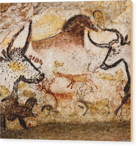 Lascaux Hall Of The Bulls - Deer Between Aurochs Wood Print