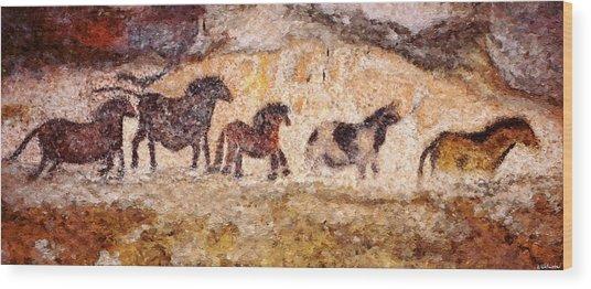 Lascaux Horses Wood Print