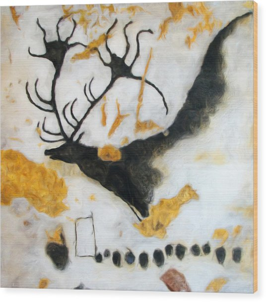 Lascaux Megaceros Deer Wood Print