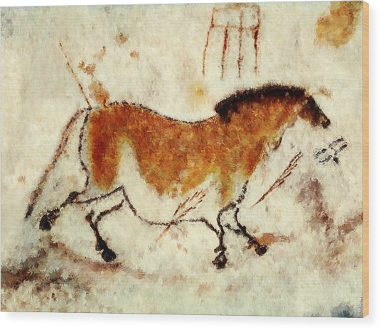 Lascaux Prehistoric Horse Wood Print