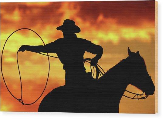 Lasso Sunset Cowboy Wood Print