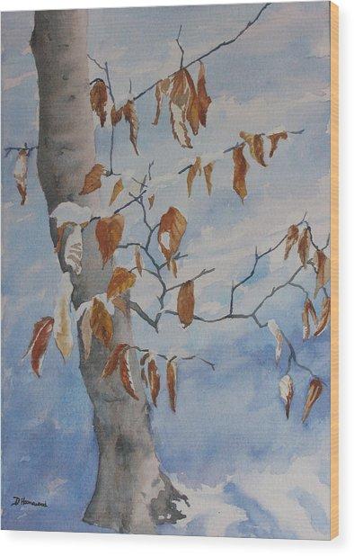 Last Leaves Wood Print by Debbie Homewood