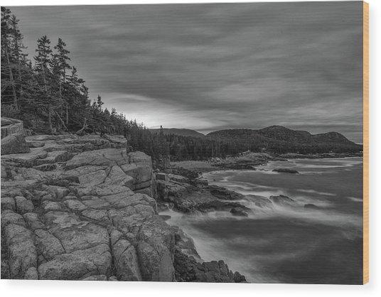 Last Light At Otter Cliff Wood Print