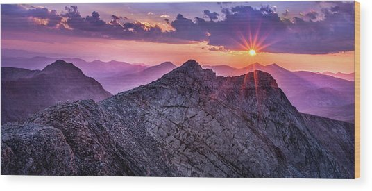 Last Light At The Summit Wood Print