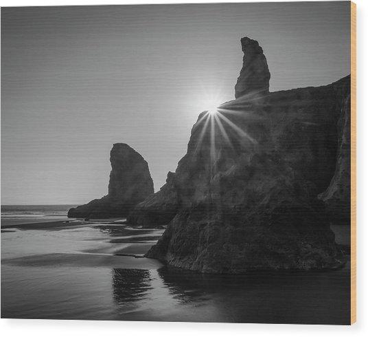 Last Light On The Coast Wood Print