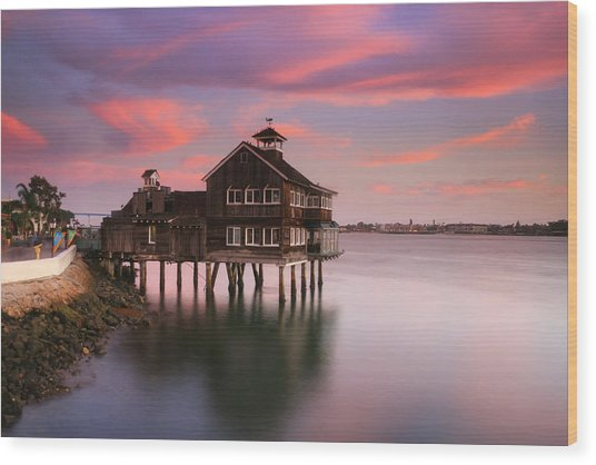 Last Light Pier Cafe Wood Print