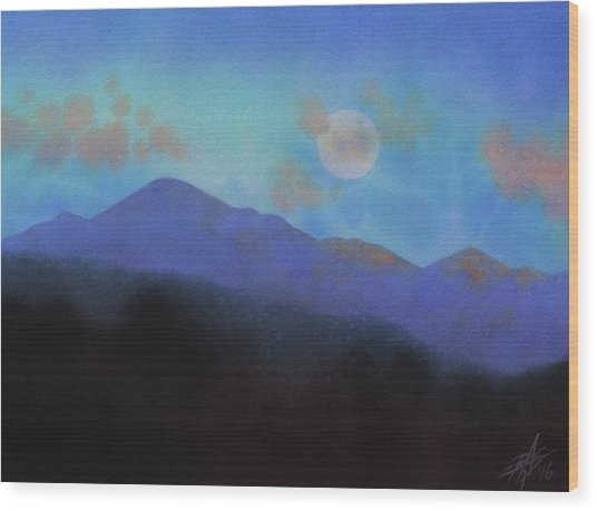 Last Light With Moonrise Over Iron Mountain Wood Print by Robin Street-Morris
