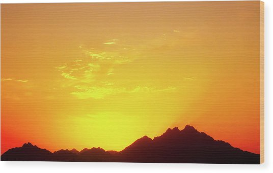 Last Moments Sunset In Africa Wood Print