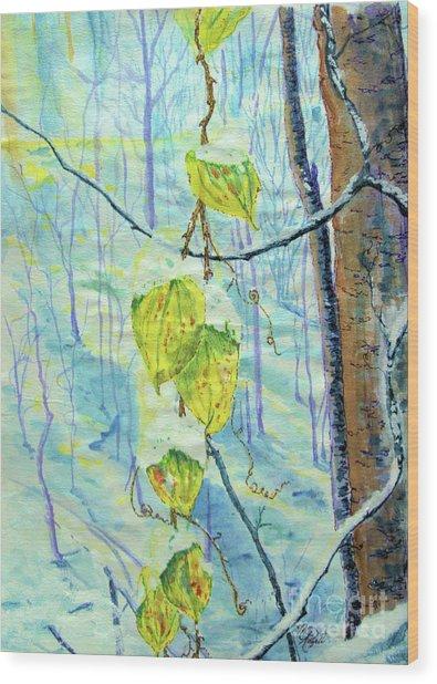 Last Of The Leaves Wood Print