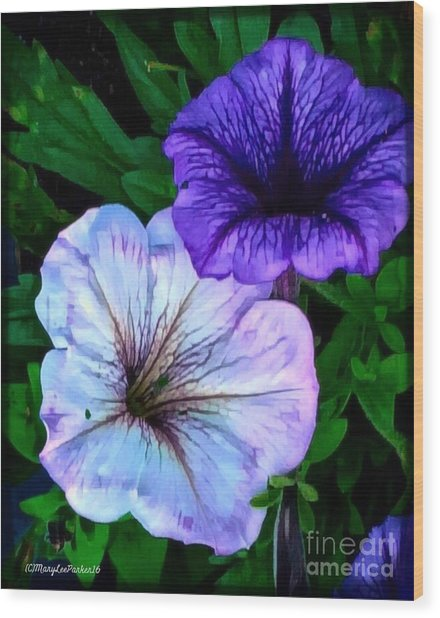 Last Of The Petunias   Wood Print